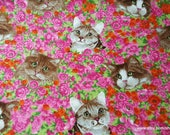 Flannel Fabric - Cats on Floral - By the yard - 100% Cotton Flannel