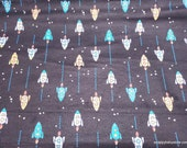 Flannel Fabric - Blue Spaceships - By the yard - 100% Cotton Flannel