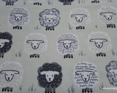 Flannel Fabric - Black White Gray Sheep on Light Taupe - By the yard - 100% Cotton Flannel