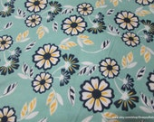 Flannel Fabric - Floral on Turquoise - By the yard - 100% Cotton Flannel