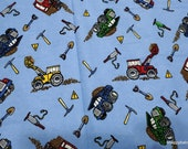 Flannel Fabric - Construction Vehicles Light Blue - By the yard - 100% Cotton Flannel