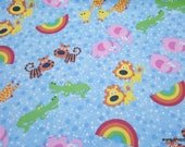 Flannel Fabric - Animals Stars and Rainbows - By the yard - 100% Cotton Flannel