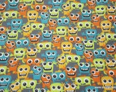 Flannel Fabric - Friendly Monsters - By the yard - 100% Cotton Flannel