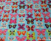 Flannel Fabric - Bright Butterflies Inline - By the yard - 100% Cotton Flannel