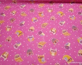 Flannel Fabric - Owls on Pink - By the Yard - 100% Cotton Flannel