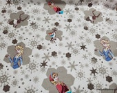 Character Flannel Fabric - Disney Frozen Snowflakes - By the yard - 100% Cotton Flannel
