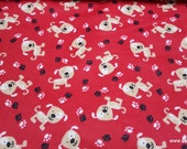 Flannel Fabric - Dog with Spots on Red - By the yard - 100% Cotton Flannel