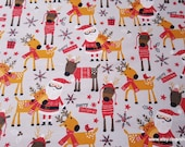 Christmas Flannel Fabric - Santa and Reindeer - By the yard - 100% Cotton Flannel