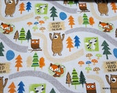 Flannel Fabric - Woodland Bear Trail - By the yard - 100% Cotton Flannel