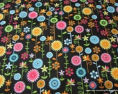Flannel Fabric - Joely Spring Flowers on Black - By the yard - 100% Cotton Flannel