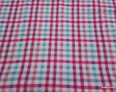 Flannel Fabric - Beetroot Aqua Plaid - By the yard - 100% Cotton Flannel