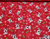 Christmas Flannel Fabric - Spotted Holiday Pup - By the Yard - 100% Cotton Flannel