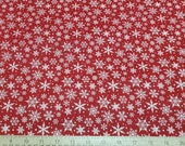 Christmas Flannel Fabric - Snowflakes Red - By the yard - 100% Cotton Flannel