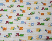 Flannel Fabric - ABC Friends - By the yard - 100% Cotton Flannel