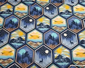Flannel Fabric - Scenic Wilderness Geo Framed - By the yard - 100% Cotton Flannel