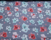 Flannel Fabric - Stamped Cats on Gray - By the Yard - 100% Cotton Flannel