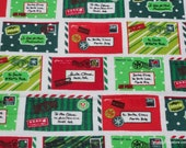 Christmas Flannel Fabric - North Pole Postcards - By the yard - 100% Cotton Flannel