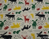 Flannel Fabric - Forest Animals Cream - By the yard - 100% Cotton Flannel
