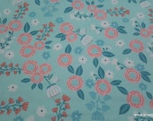 Flannel Fabric - Hanna Mint Pink Floral - By the yard - 100% Cotton Flannel