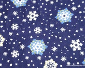 Christmas Flannel Fabric - Blue and White with Yellow Snowflakes on Blue - By the yard - 100% Cotton Flannel