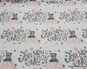 Flannel Fabric - Moon and Back Pink - By the yard - 100% Cotton Flannel