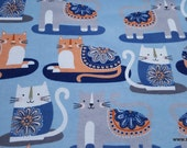 Flannel Fabric - Patterned Trap Cat - By the yard - 100% Cotton Flannel