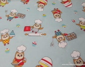 Flannel Fabric - Baking Owls - By the yard - 100% Cotton Flannel