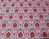 Flannel Fabric - Damask Ladybugs - By the yard - 100% Cotton Flannel