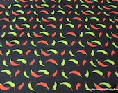 Flannel Fabric - Red and Green Chili Peppers on Black - By the yard - 100% Cotton Flannel
