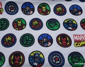 Character Flannel Fabric - Marvel Comic Badges - By the yard - 100% Cotton Flannel