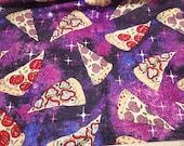 Flannel Fabric - Pizza in Space - By the yard - 100% Cotton Flannel
