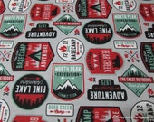 Flannel Fabric - Adventure Patches - By the Yard - 100% Cotton Flannel
