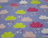 Flannel Fabric - Happy Clouds - By the yard - 100% Cotton Flannel