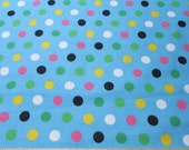 Flannel Fabric - Multi Dots on Blue - 1 yard - 100% Cotton Flannel