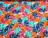 Flannel Fabric - Graphic Multi Leaves - By the yard - 100% Cotton Flannel