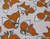Flannel Fabric - Foxes Pink White - By the yard - 100% Cotton Flannel