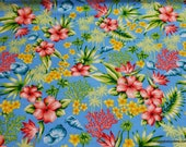 Flannel Fabric - Hawaiian Floral Blue - By the Yard - 100% Cotton Flannel