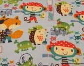 Flannel Fabric - Ahoy Monkey Pirates  - By the yard - 100% Cotton Flannel