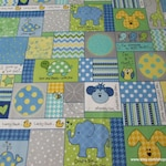Flannel Fabric - Little One Patch Blue - By the yard - 100% Cotton Flannel