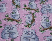 Flannel Fabric - Loving Koalas - By the yard - 100% Cotton Flannel