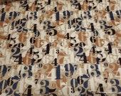 Premium Flannel Fabric - On Time Tan Numerals Premium Flannel - By the yard - 100% Premium Cotton Flannel