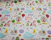 Flannel Fabric - Once Upon a Time Main White - By the yard - 100% Cotton Flannel