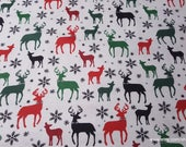 Christmas Flannel Fabric - Multi Deer with Bow Tie - By the yard - 100% Cotton Flannel