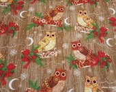 Christmas Premium Flannel Fabric - Holiday Owls Premium - By the yard - 100% Cotton Flannel