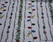 Christmas Premium Flannel Fabric - Christmas Joys Lights Garland Candy Stripe on White Premium  - By the yard - 100% Cotton Flannel