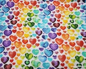 Flannel Fabric - Watercolor Hearts - By the yard - 100% Cotton Flannel