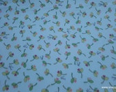 Premium Flannel Fabric - Lil Sprout Too Small Buds on Blue Premium - By the yard - 100% Cotton Flannel