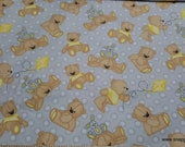 Flannel Fabric - Sweet Bear with Bunny and Kite on Gray - By the yard - 100% Cotton Flannel