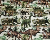 Flannel Fabric - Realistic Dinos - By the yard - 100% Cotton Flannel
