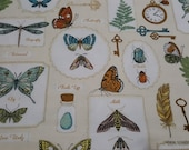 Flannel Fabric - Botanical Butterfly - By the yard - 100% Cotton Flannel